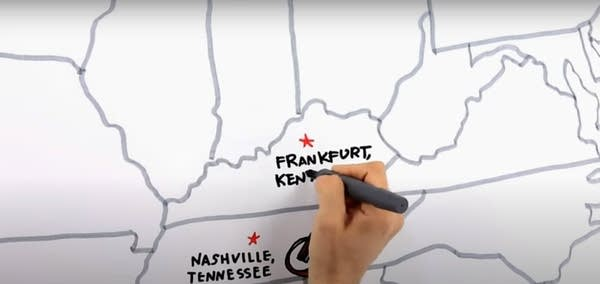 "Screen cap from the YouTube video ""Tour the States"" which teaches capitals"