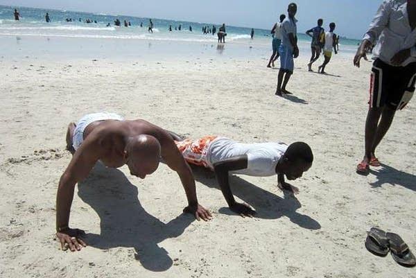 Pushup challenge on Somali beach