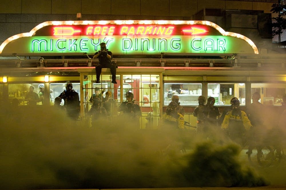 Tear gas outside Mickey's