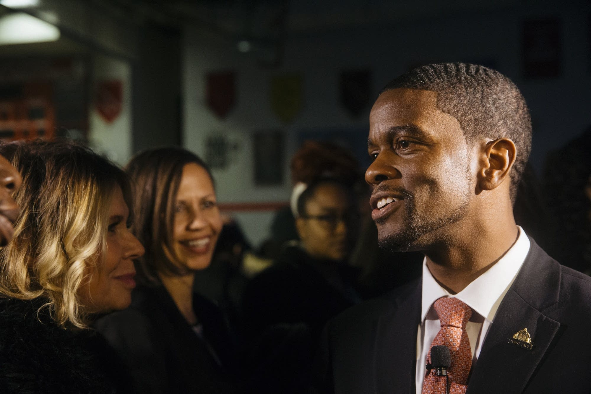 St. Paul Mayor Melvin Carter speaks with supporters