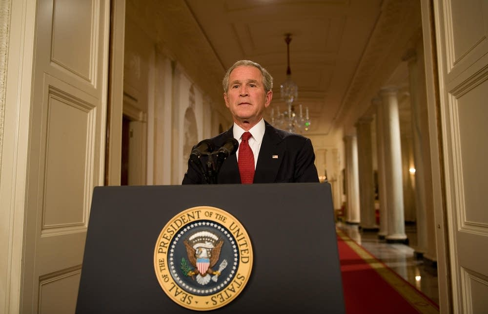George Bush addresses the nation