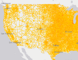 A pointillist portrait of the United States in noise