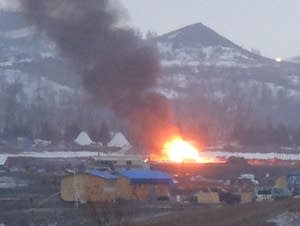 Buildings burn at the Oceti Sakowin camp