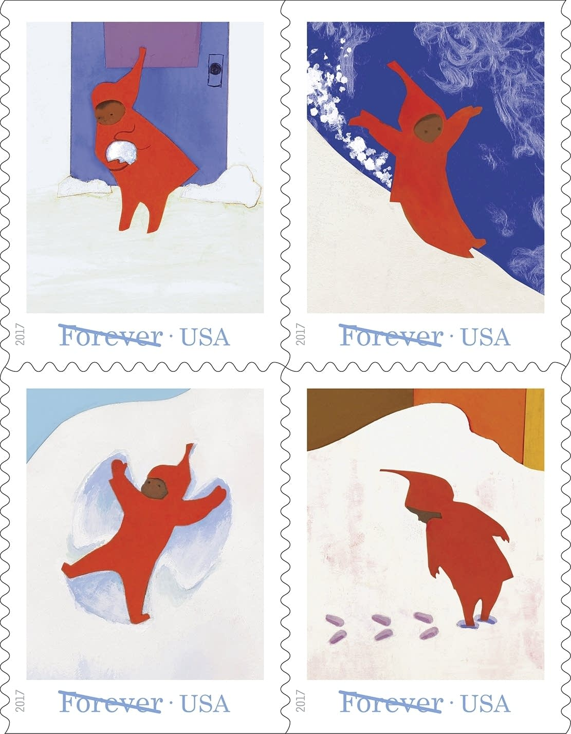"New U.S. Postal Service stamps honor Ezra Jack Keats' ""The Snow Day."""