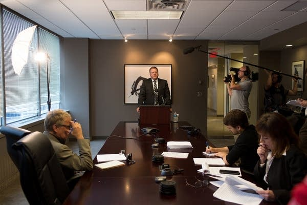 Attorney Dan Gustafson at news conference