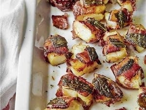 Roasted smashed red river potatoes with sage and bacon