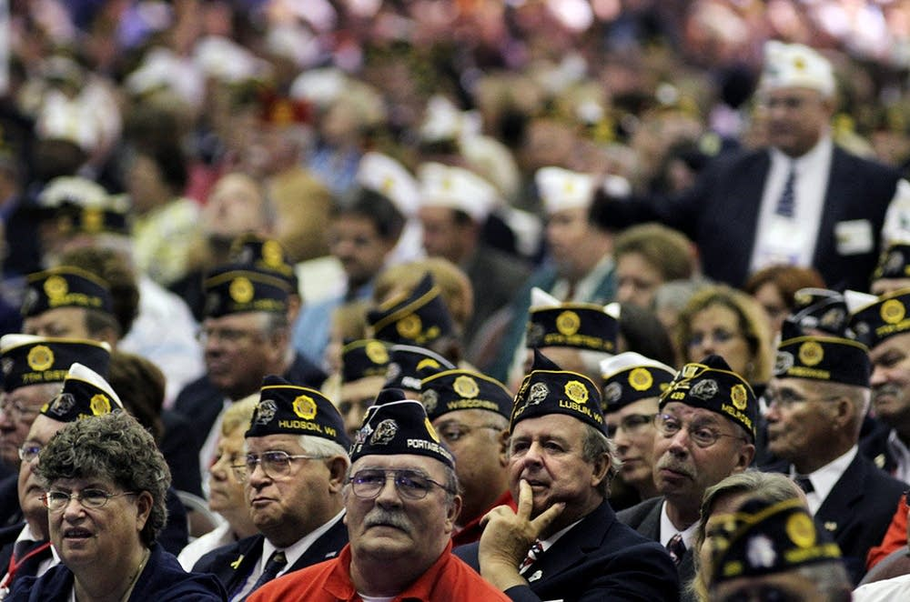 American Legion members wait for the president