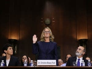 Christine Blasey Ford is sworn in