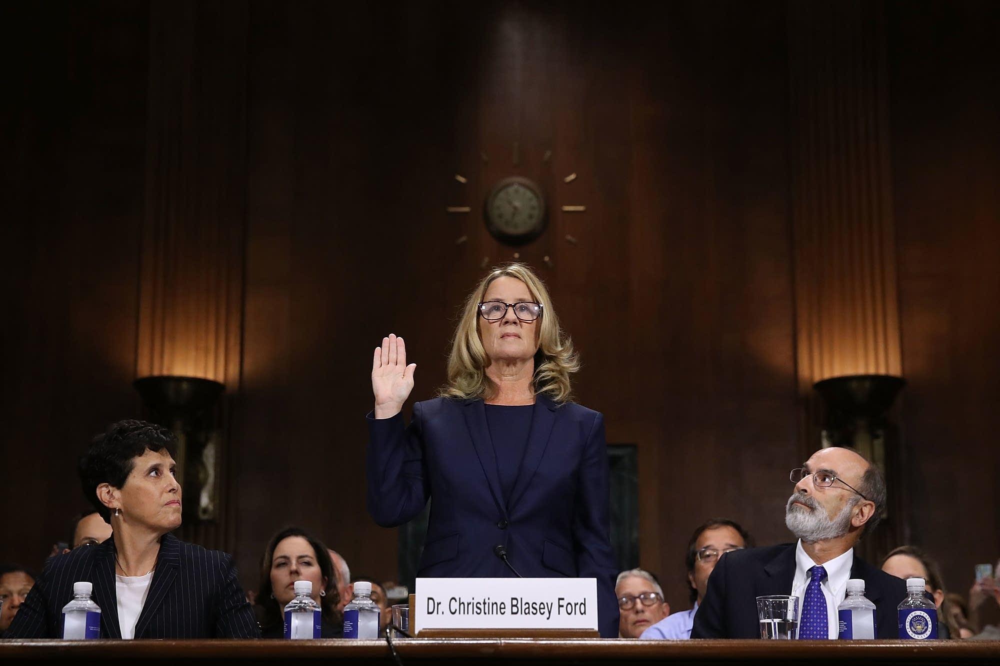 Christine Blasey Ford is sworn in