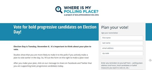The pollfinder website redirects users.