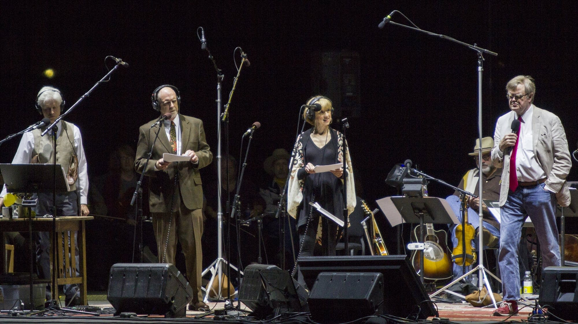 Fred Newman, Tim Russell, Sue Scott, and Garrison Keillor