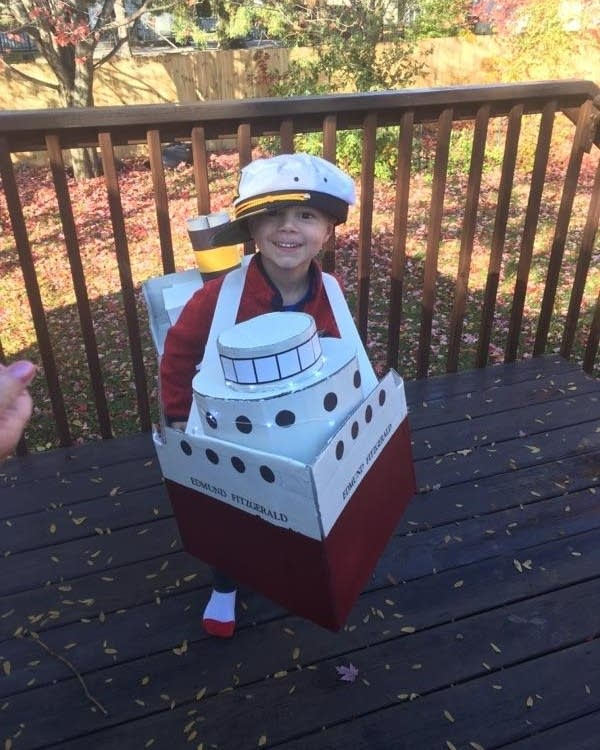Peggy Ryan crafted an Edmund Fitzgerald costume for her grandson.