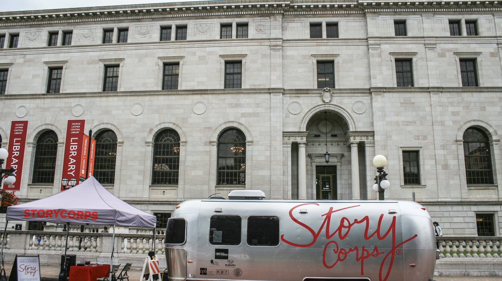 The StoryCorps mobile booth outside the George Latimer Central Library.
