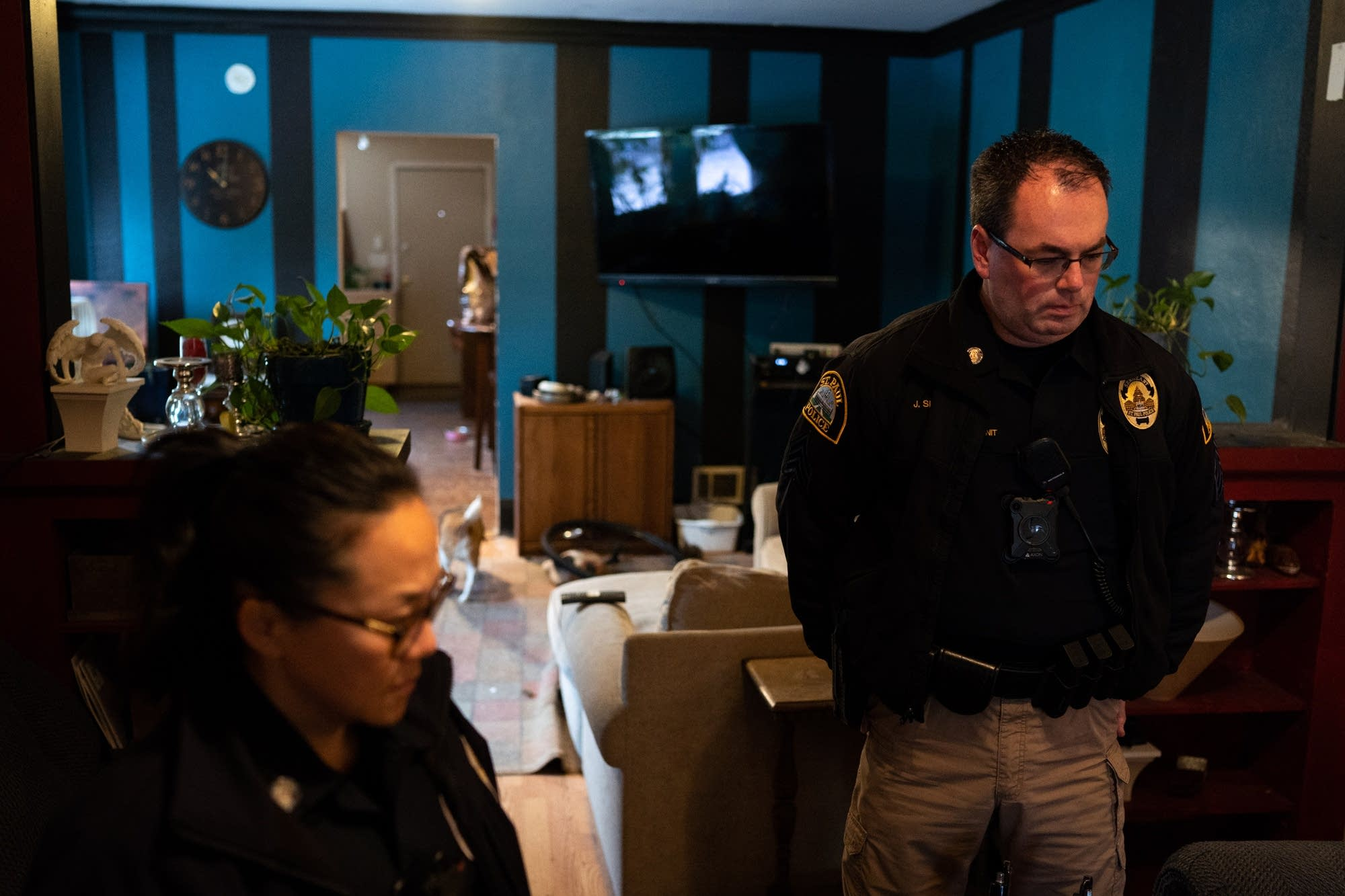 St. Paul Police Sgt. Jamie Sipes, right, and officer Lori Goulet respond.