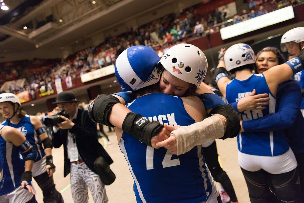Victorian Roller Derby League celebrates their win