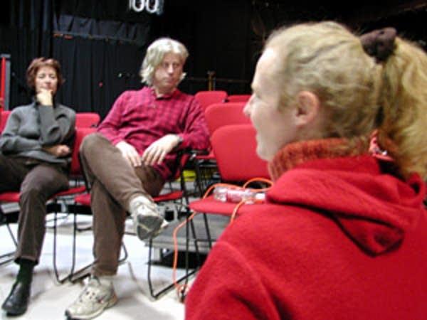 Pre-rehearsal confab
