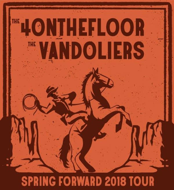 4onthefloor poster for 2018 tour with Vandoliers
