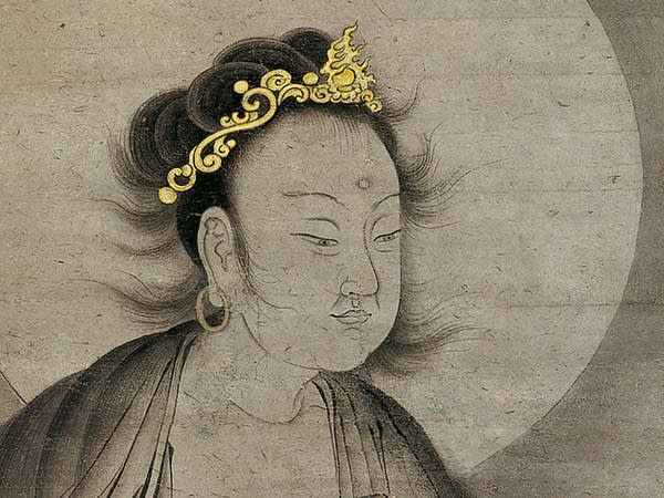 Detail of hanging scroll, ink and gold on paper
