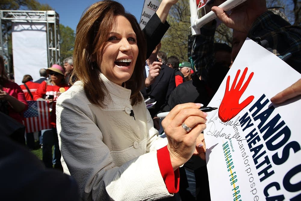 Michele Bachmann outside the Supreme Court