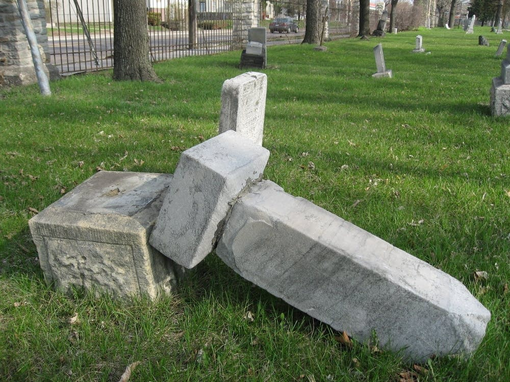 Toppled headstones