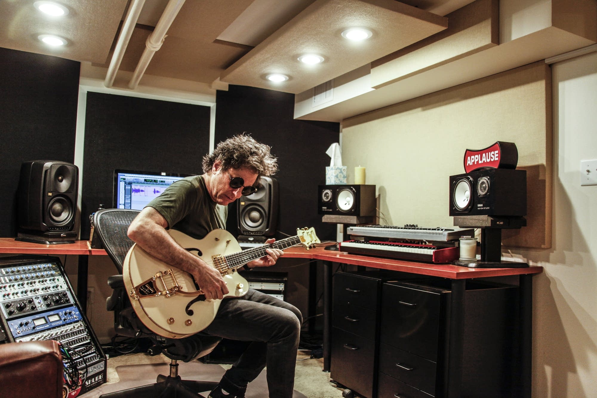 Kevin Bowe's basement holds a private studio for music production.