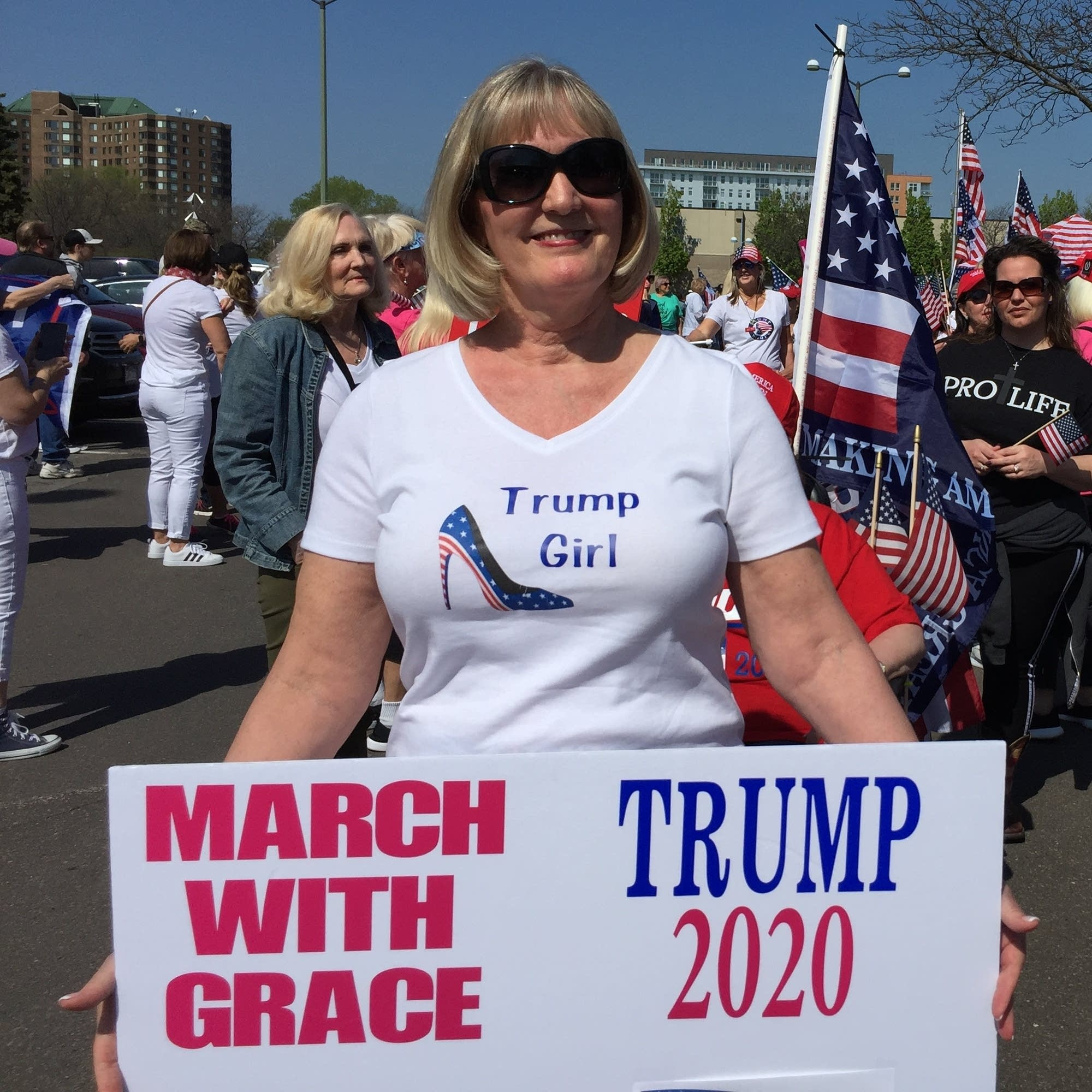 Kathleen Laverdiere, 62, of Shoreview at a march in support of Trump