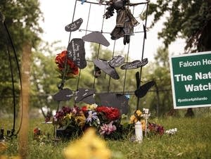 A memorial sits where Philando Castile was shot by a police officer.