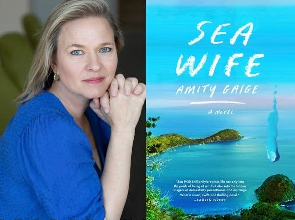 """A woman wearing a blue blouse; the cover of the book, """"Sea Wife."""""""