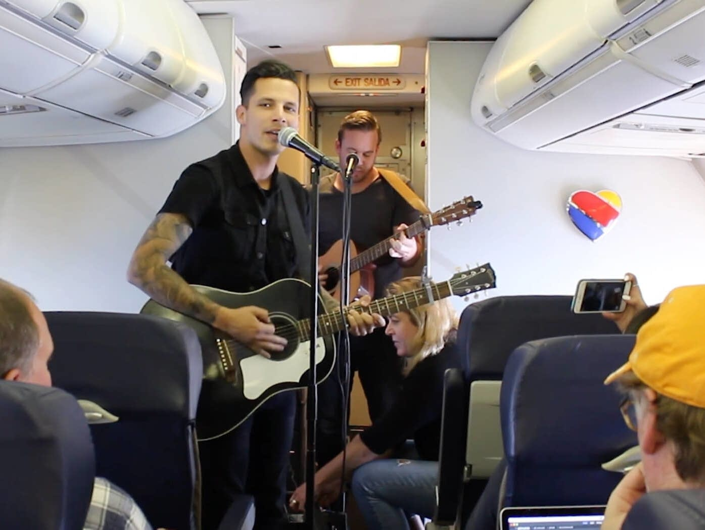 Devin Dawson performs on a Southwest Airlines flight.