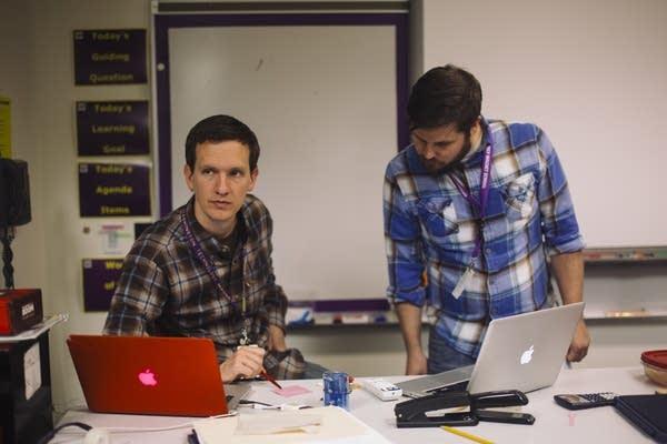 Ross Mau and Eric Gunderson coach the e-sports team.