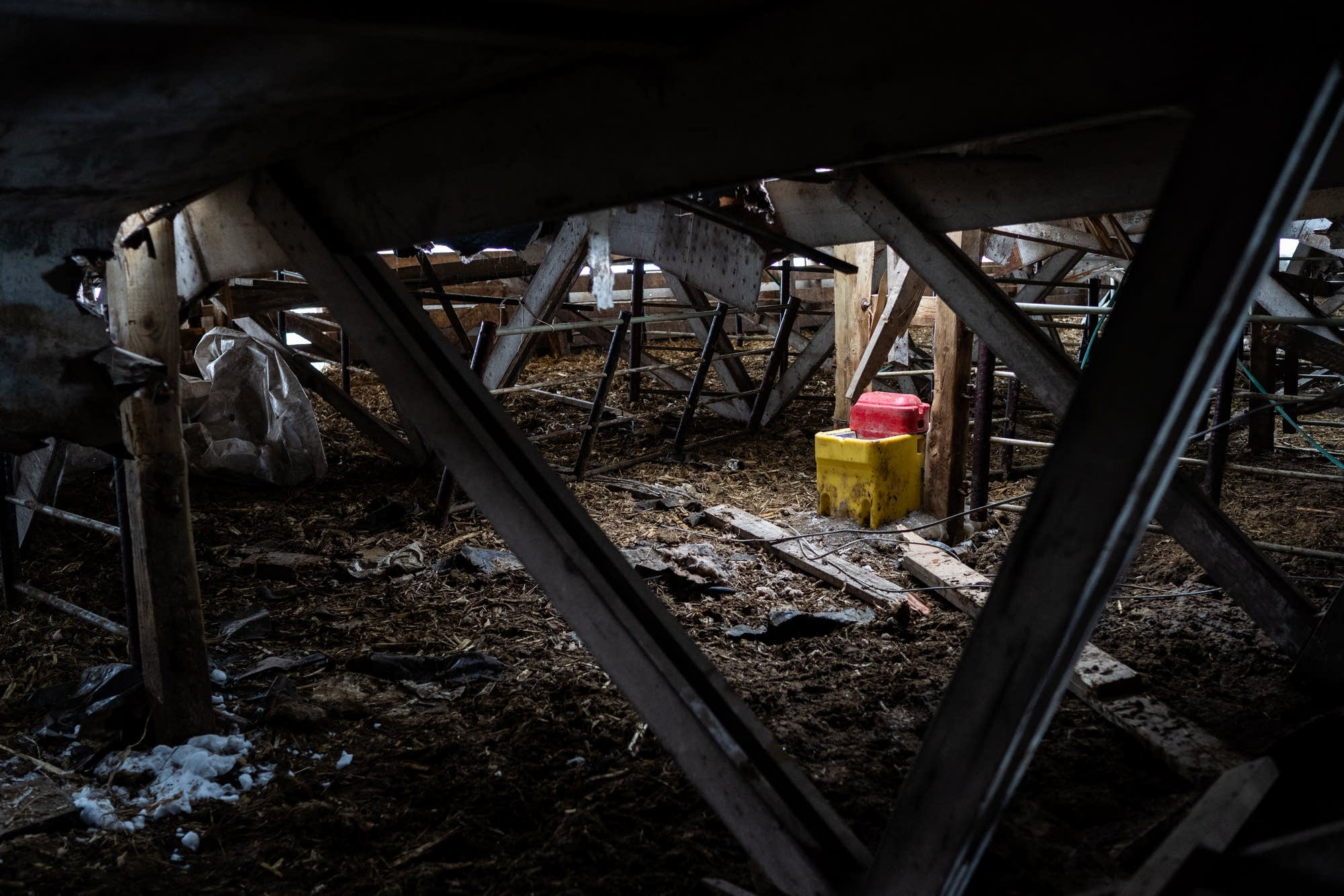 A water trough sits in the rubble of a collapsed calving barn.
