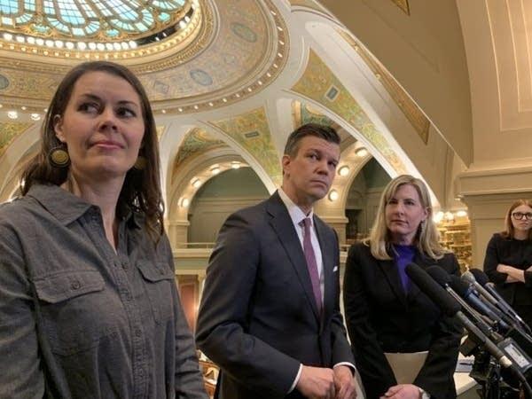 House DFL leaders Liz Olson, Ryan Winkler and Melissa Hortman
