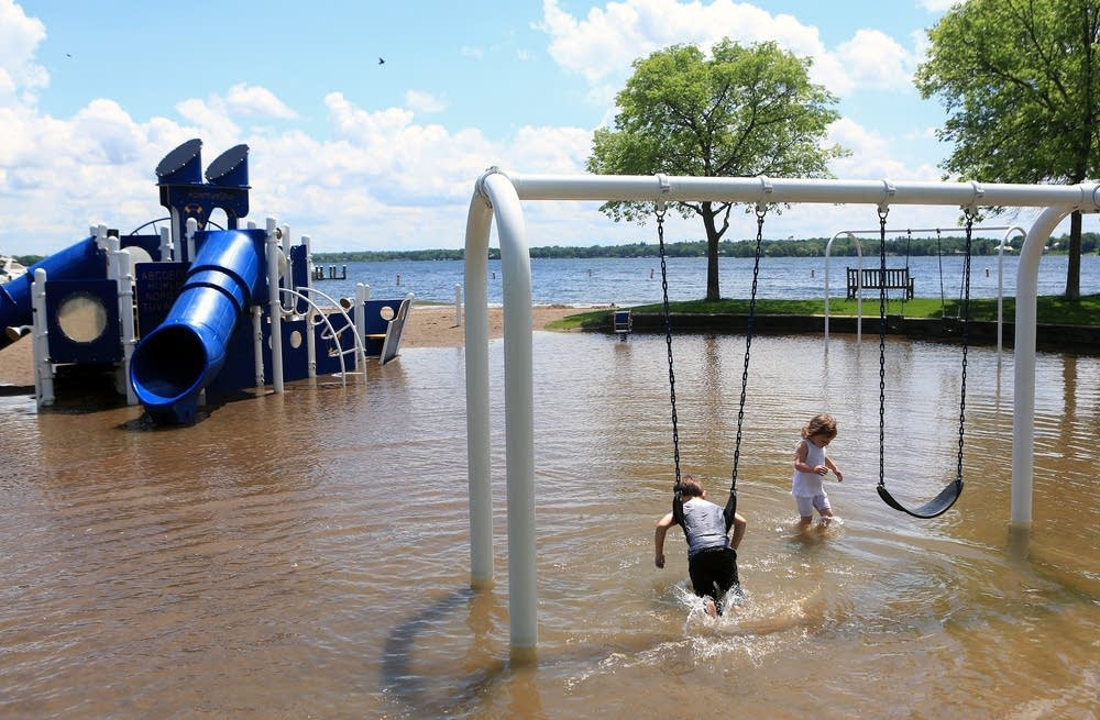 Flooded Wayzata Beach playground