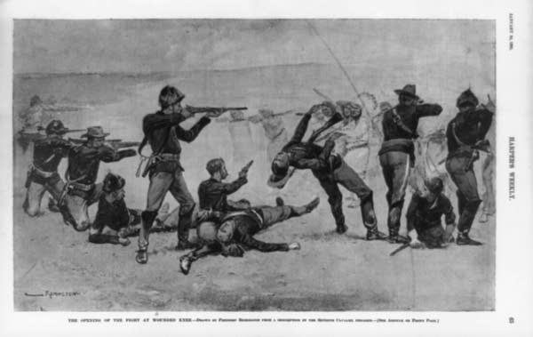 Painting by Frederic Remington of the massacre