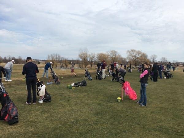 The driving range at Oak Marsh Golf Course in Oakdale, Minn.