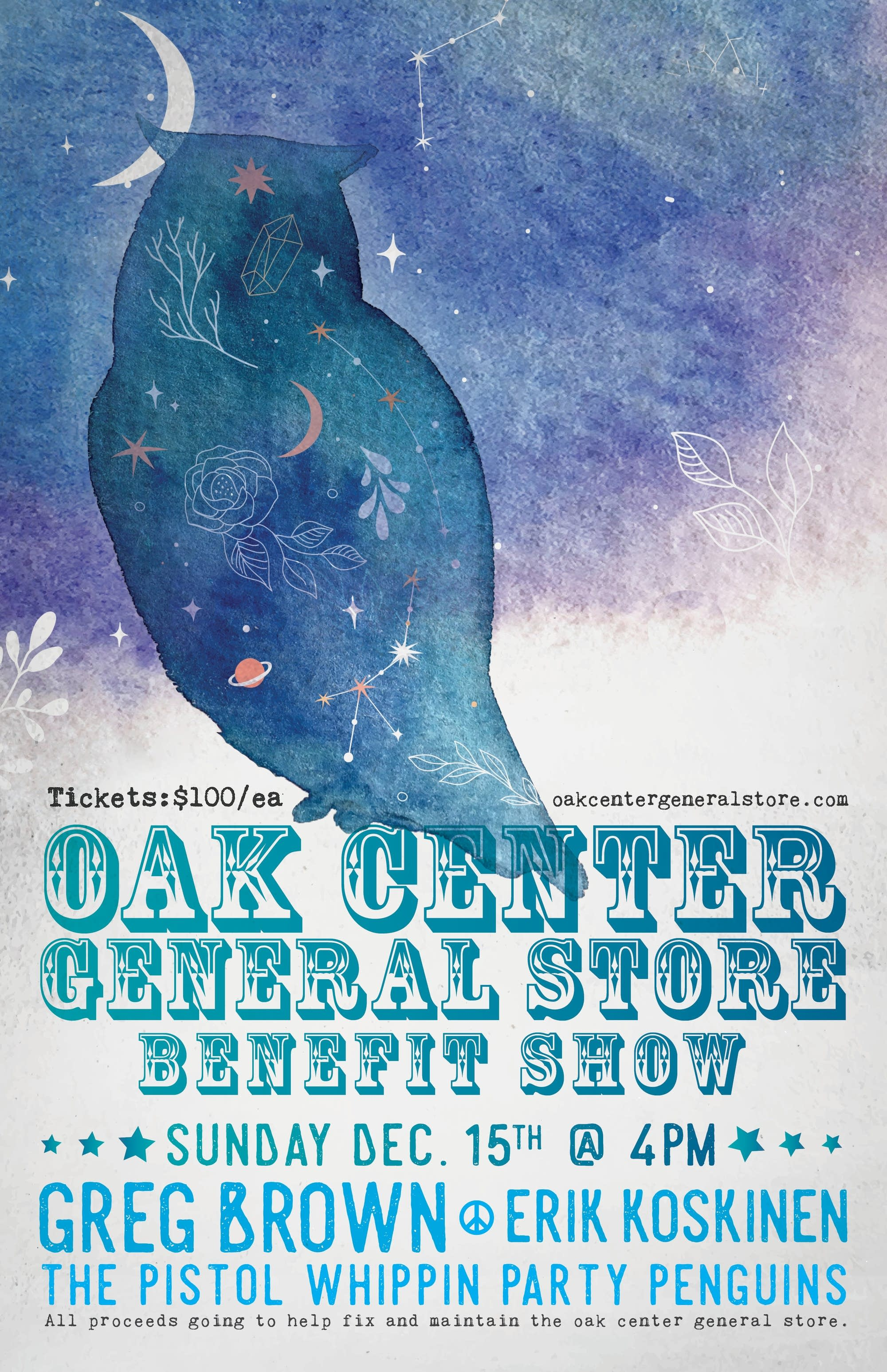 Oak Center General Store benefit poster