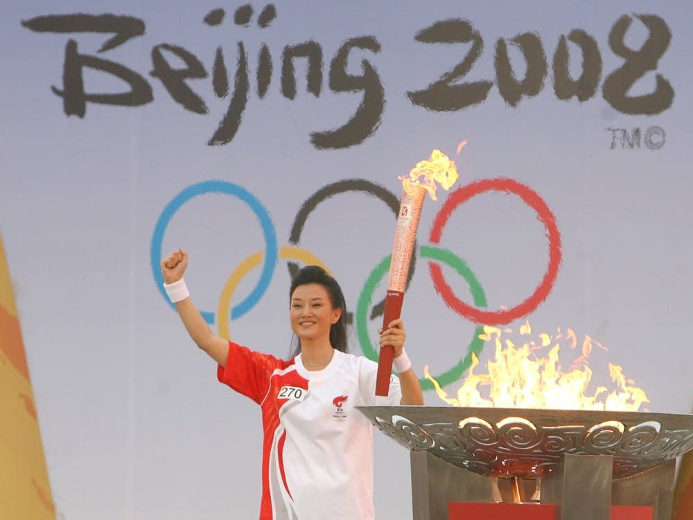 Olympic torch at 2008 opening ceremony