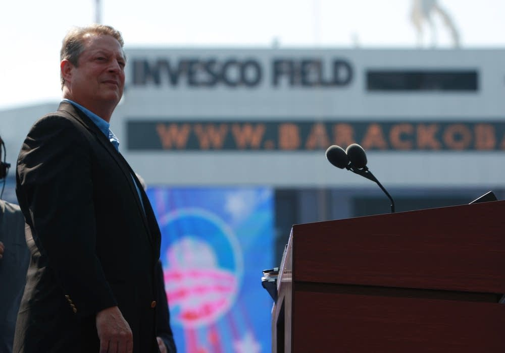 Al Gore on stage at Invesco Field