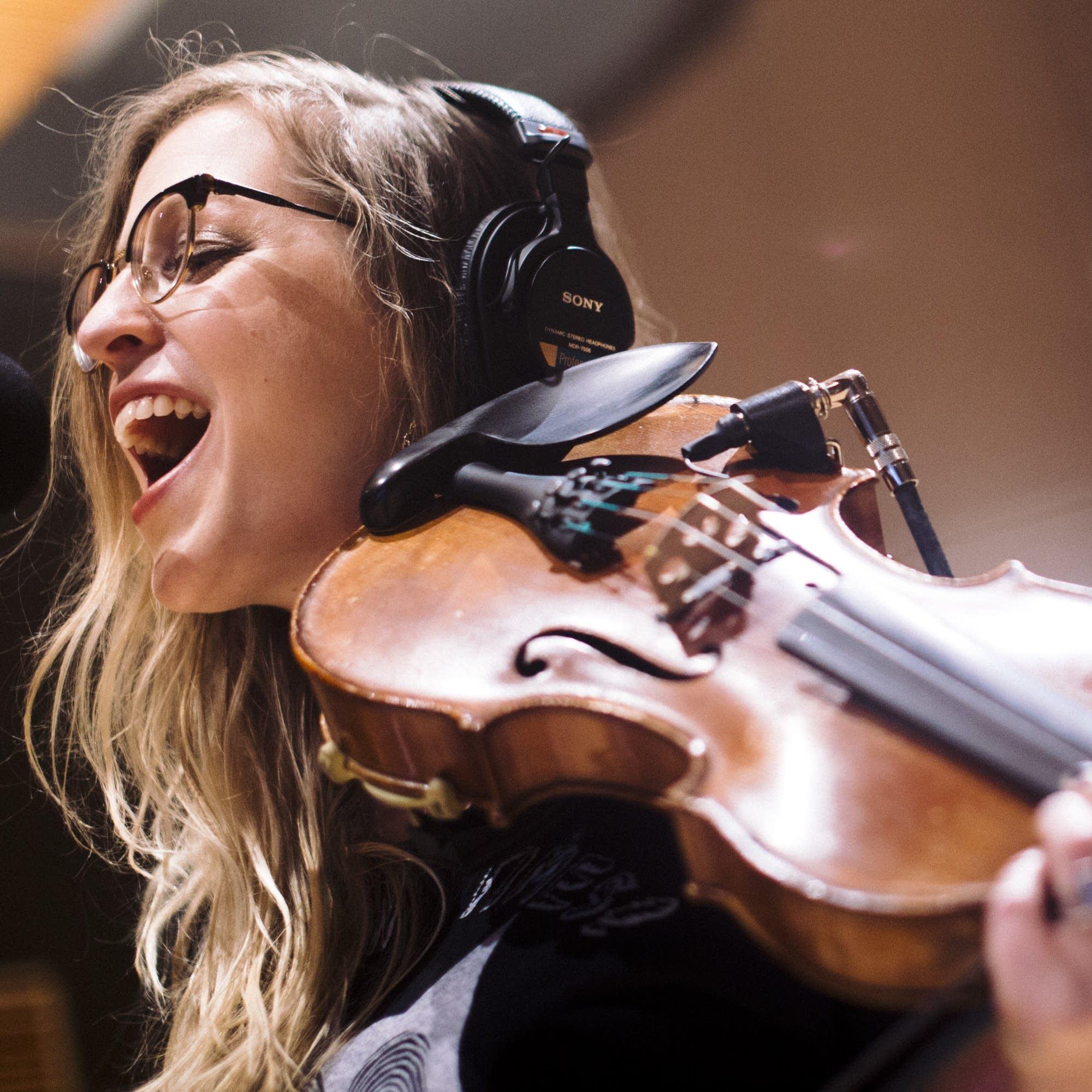 Jillian Rae sings in Studio M