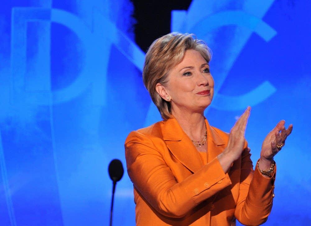 Clinton addresses delegates at the DNC