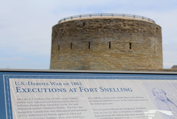 A sign seen at Fort Snelling on May 3, 2019.