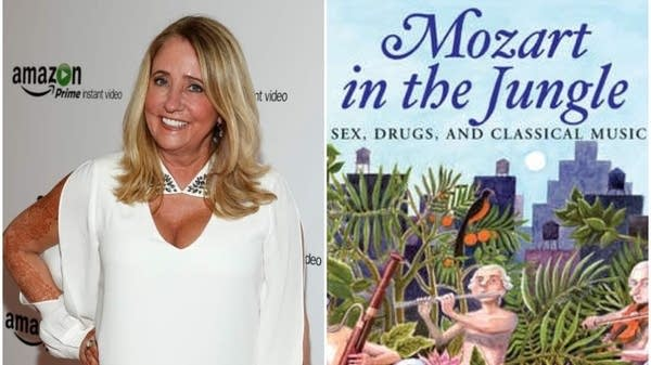 "Blair Tindall and the cover of her book, ""Mozart in the Jungle"""