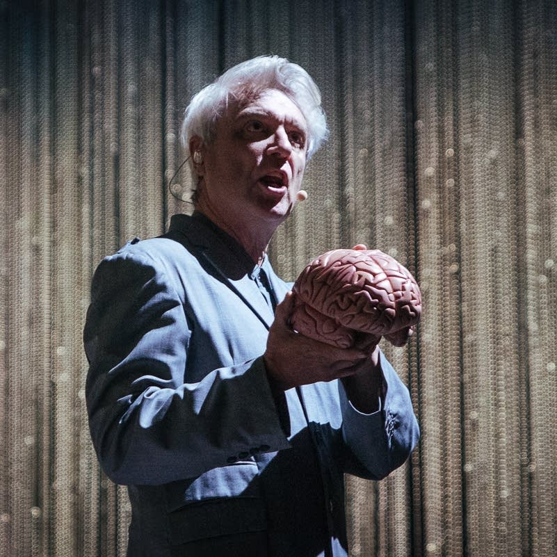 David Byrne performs at the Orpheum Theatre in Minneapolis.