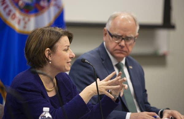 U.S. Sen. Amy Klobuchar and Gov. Tim Walz receive updates on flooding.