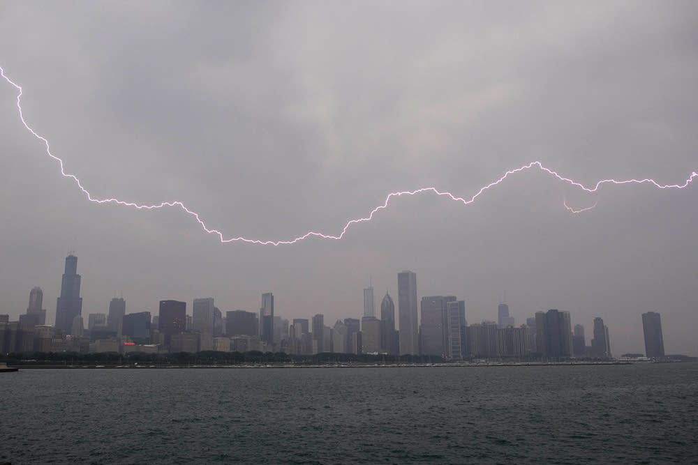 Lighting flashes over the Chicago skyline