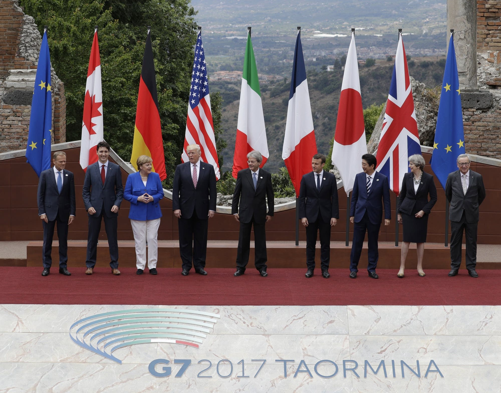 Hasil gambar untuk President Trump participates in the welcome ceremony for G7 leaders