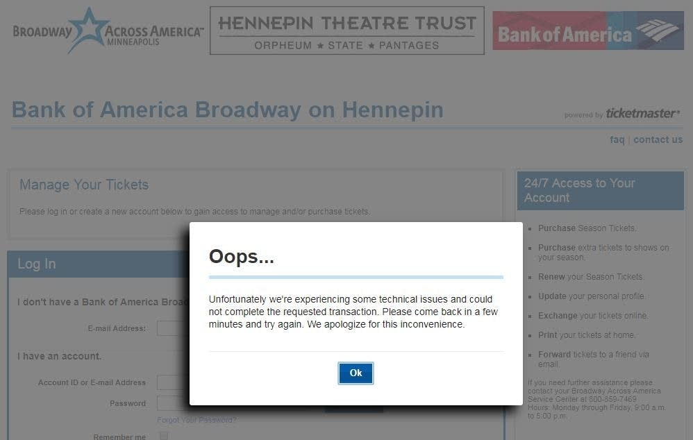 People trying to buy Hennepin Theatre Trust's season passes see this.