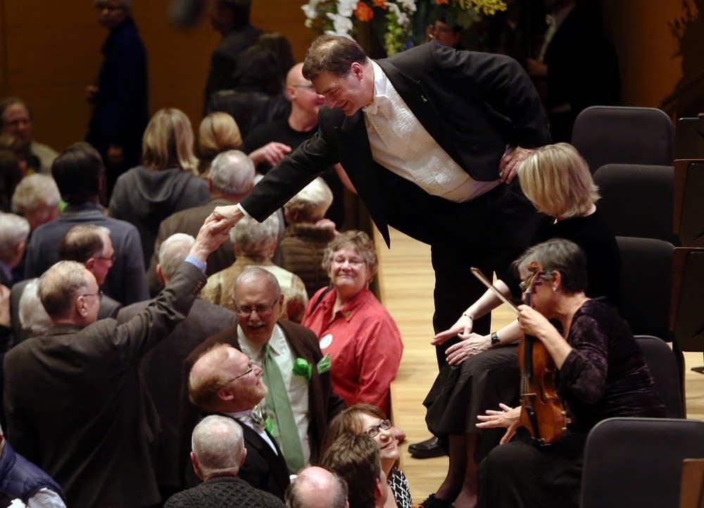 Minnesota Orchestra musicians greet patrons