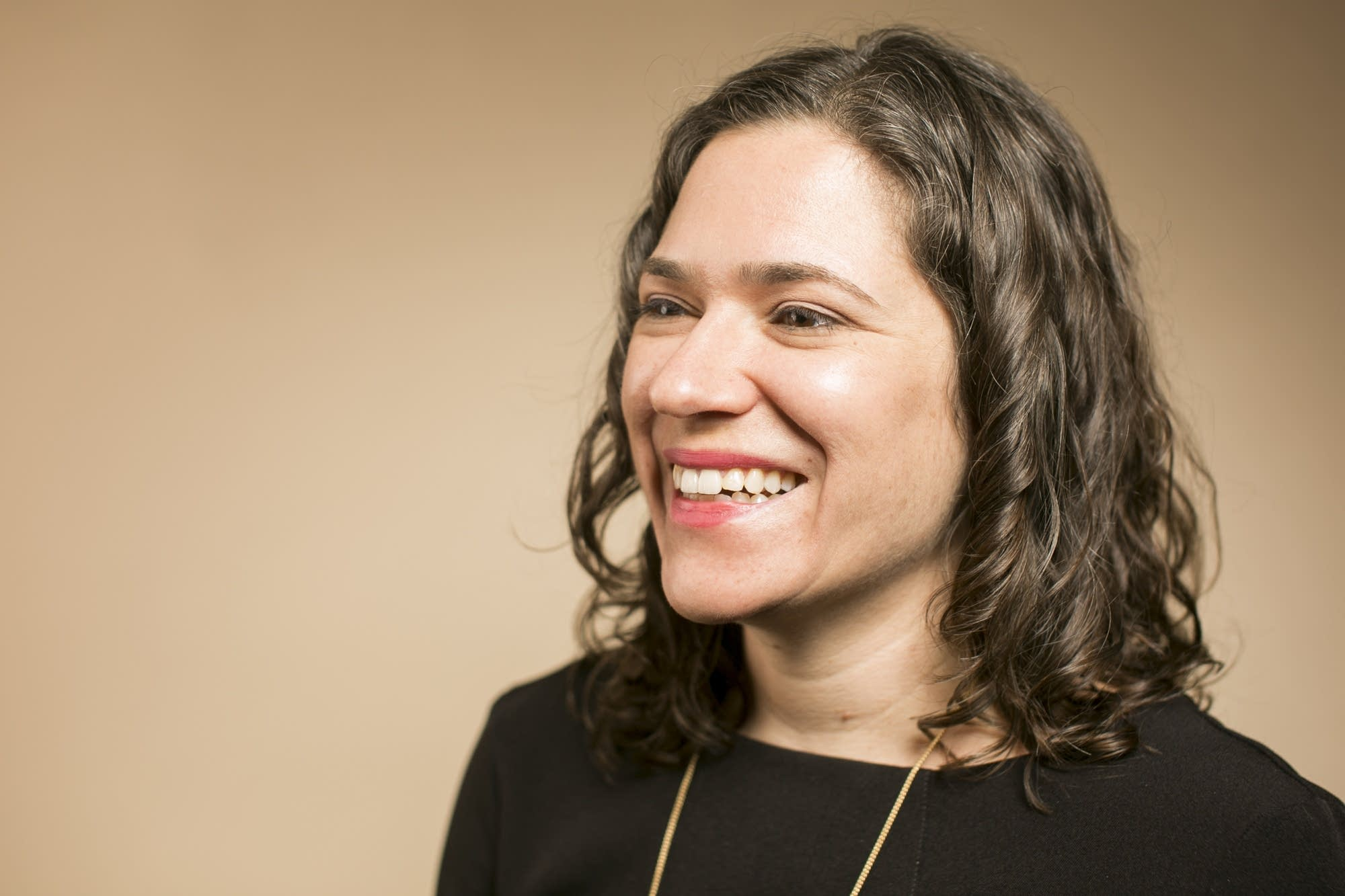 Lisa Bender sits for a portrait at MPR.