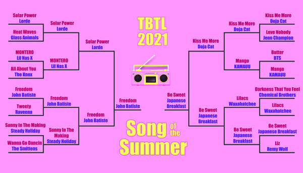 16 song bracket (yellow on pink) for Song of the Summer contest ROUND 4